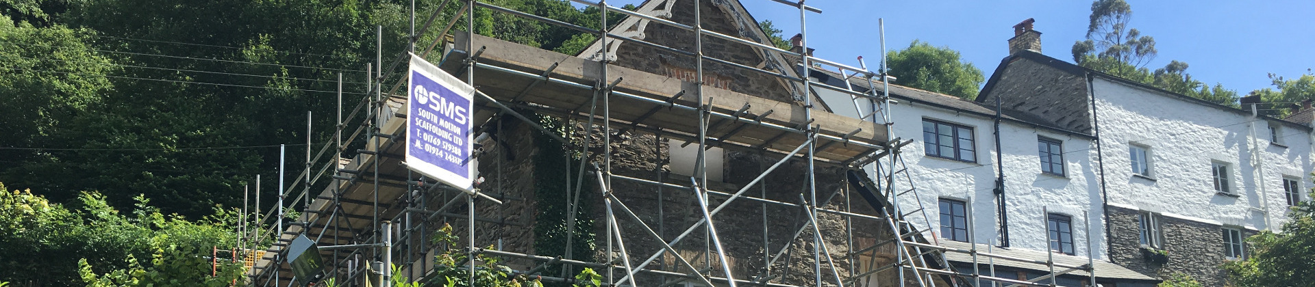 An erected scaffold by South Molton Scaffolding